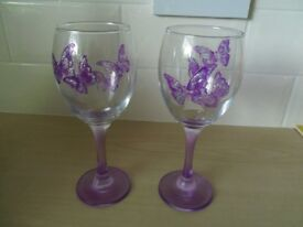 Two Hand-decorated Wine Glasses