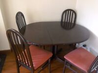 Extendable Rose Mahogany Dining Table with 4 Chairs