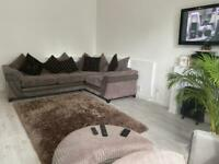L-Shape sofa, Love Chair, Foot stall, rug & curtains