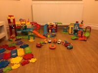 Toot toot drivers huge bundle garage police station fire station extra track set and 9 cars