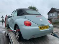 2003 VW BEETLE CABRIOLET CONVERTIBLE 1.6 BREAKING PARTS SPARES. BLACK LEATHER. BLUE. BFS CODE