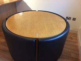 Furniture Village 47 inch round Oak table and Brown leather chairs
