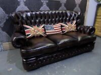 Stunning Refurbished Chesterfield 3 Seater Monk Back Sofa in Brown Leather - UK Delivery