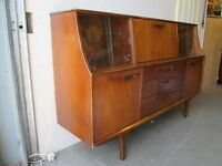 VINTAGE JENTIQUE THREE DRAWER TEAK RETRO SIDEBOARD WITH LIT MIRROR BACK DROP DOWN BAR FREE DELIVERY
