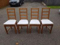 4 Ikea Solid Wood High Ladder Back Chairs FREE DELIVERY 322