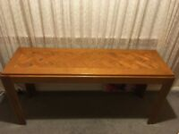 Classic 70s console table / sideboard parquet (herringbone) oak table top