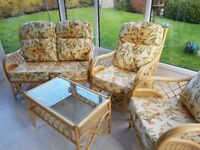 Conservatory Furniture. 2 Seater Settee, 2 Chairs, Coffee Table (glass top)