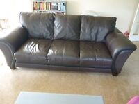 Leather 3 seater Modern Design Sofa from DFS Chocolate Brown with Black trim Pre-Owned