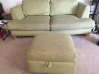 Free 3-seater lime green sofa and storage footstool