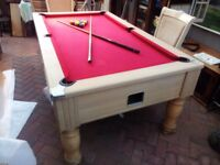 Pool table slate bed with accs.full size but with slight cloth tear still plays well easy to fix