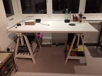 WHITE IKEA TRESTLE DESK FINNVARD/LINNMON FOR SALE