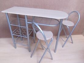 Breakfast Table & folding Chairs for 2 - compact