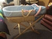 Lovely Moses basket with stand plus bedding