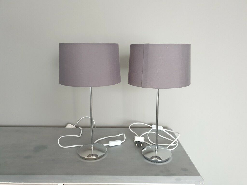 2 Next Bedside Table Lamps With Grey Shades In Poole Dorset Gumtree