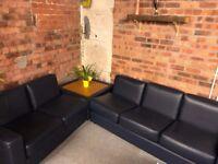 Modern Blue Leather 3pc Sofa, 2pc Sofa & Sofa Island / Corner Unit Set, FANTASTIC CONDITION