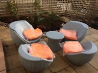 Garden rattan 5 piece set chairs and table with cushions never used