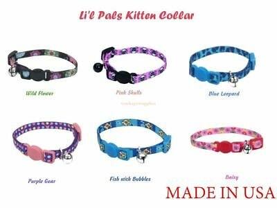 Lil Pals Adjustable Kitten (COASTAL-DIFFERENT COLORS! Li'l Pals Kitten Adjustable Breakaway Collar with Bell )