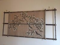 **Unique Japanese Hand-Woven and Painted Hemp Cherry Blossom Wall/Door Hanging and Bamboo Frame**