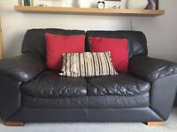 Dfs brown leather 2 seater sofa
