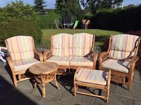 Conservatory Furniture Set - 1 x Sofa, 2 x Seats, Pouffe & Table - Very Good Condition - £100 ono