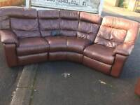 Brown leather corner group sofa (electric recliner) very good condition £295