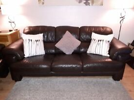 Brown leather suite consisting of 2 & 3 seaters