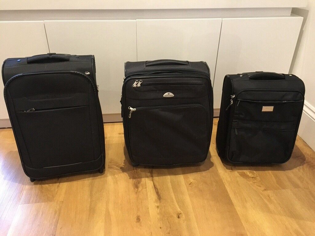 Small suitcases (three) all suitable for hand luggage when flying