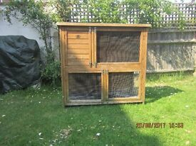 A two storey animal hutch for outside