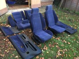 BMW E36 Blue Velet Like Cloth Coupe Full Interior Seats