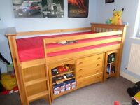 Marks and Spencers Cabin Bed - Desk, Wardrobe, drawers, shelves and mattress - good condition £200