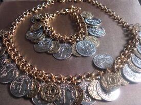 Vintage Style, Coin Necklace Bracelet Set