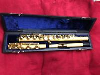 Brand new- Christian Berg Open holes B-Foot Flute made of Sand blasted 24 Kt 999,9 pl Gold
