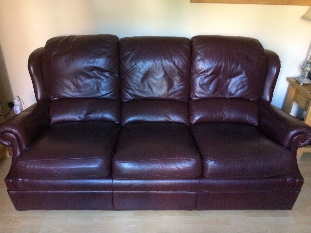 GPlan Leather Brown/Burgundy 3 Seater Couch & 2 Armchairs for sale. Great Condition. £150 O.N.O