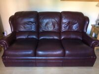 GPlan Leather Brown/Burgundy 3 Seater Couch & 2 Armchairs for sale. Great Condition. £175 O.N.O