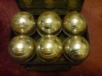 6 STEEL FRENCH BOULES (BOWLS) SET PETANQUE BALLS
