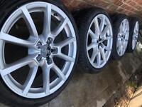 "As New 18"" Genuine Audi VW Golf mk5 mk6 alloy wheels +225 40 18 tyres A3 A4 Touran 5x112"