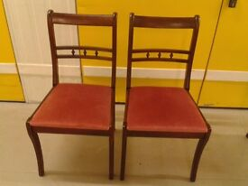2 Regency dining chairs,Mahogany,solid wood,carved back,stable