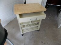 Trolley,cream, for kitchen with drawer,two shelves ,bottle storage worktop,lockable casters e