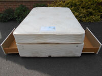 Myers double divan bed with 2 drawers. Can deliver