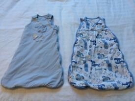 2 BLUE BABY BOY SLEEPING BAGS. 0-6 MONTHS. 2.5 TOG.