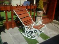 Vintage cast iron garden rocking chair