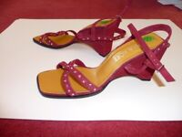 Pinky red suede sandals with diamantes, they sparkle. The heel is 8cm. UK size 6.5