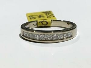 #1533 14K WHITE GOLD LADIES PRINCESS CUT CHANNEL SET DIAMOND WEDDING BAND *SIZE 6 1/2* JUST BACK FROM APPRAISAL AT $2550