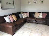 Dfs large brown leather corner sofa