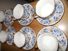 Tea Set Cups & Saucers x 6 Crown Staffordshire Blue & Gold