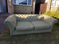 Mint green chesterfield 3 seater sofa