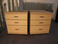 2 Zenith Light Oak Veneer 3 Drawer Bedside Cabinets 47cm x 47cm (18.5in x 18.5in)