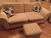 3 seater sofa + 2 armchairs + footstool