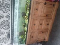 Large fish tank & unit with fish and musk turtles