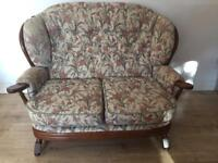 Cottage Style Wooden Framed Armchairs & 2 Seater Sofa